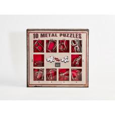 10 Metal Puzzle Set - piros *-***